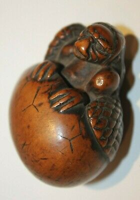 Japnese Antique 19Th Early Cent Edo Period Fine Quality Carved Boxwood Netsuke