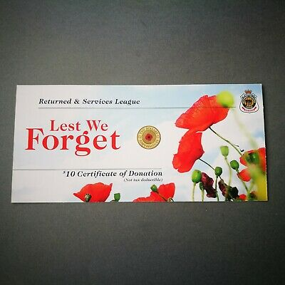 2012 Remembrance Day Lest We Forget Red Poppy On Rsl Card Only (A Set Of 5 Qty)
