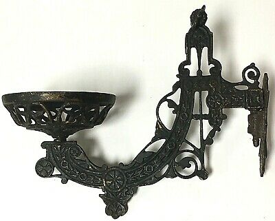 Vintage Victorian Cast Iron Swing Arm Wall Mount Oil Lamp Holder Ornate Sconce