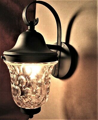 Lightolier Lamp Entry Porch Wall Leaded  Glass Shade Rewired Excellent Signed