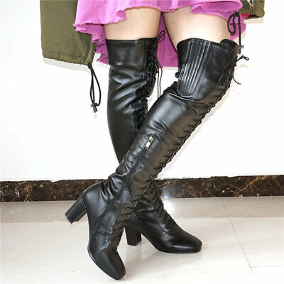 Women Warm Boots Over The Knee Thigh High Winter Lace Up Long Booties Punk Goth