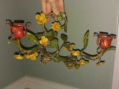 Pair Vtg Tole Italian Toleware Metal Wall Sconce Candle Holder Rose Flower Italy
