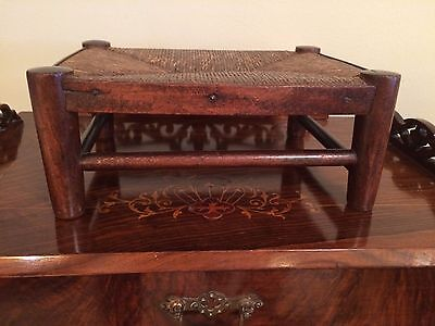 Antique Hand Carved Dark Oak &  Rush Small Cricket Footstool English Victorian