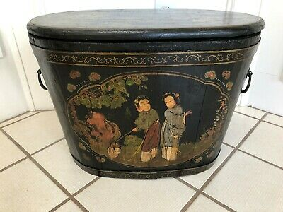 Antique  19C Chinese Wood Lacquered Bucket,Trunk ,Box Painted With Garden Scenes