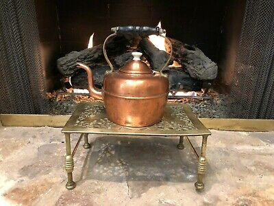 Antique English Victorian Solid Brass Trivet Kettle Stand Royal British Lions