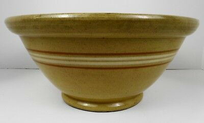 Antique Primitive Yellow Ware Banded Crock Bread Mixing Bowl Yellowware 12""