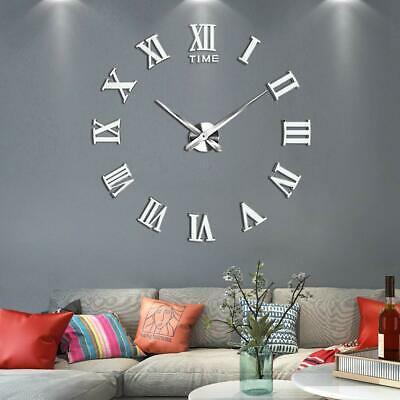 Luxury 3D DIY Wall Clocks Roman Numeral Mirror Sticker Bedroom Art Decor Silver