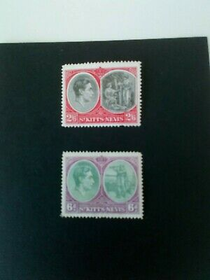 St Kitts-Nevis 1938 George VI stamps SG76 2s 6d & SG 74 6d values mounted mint.