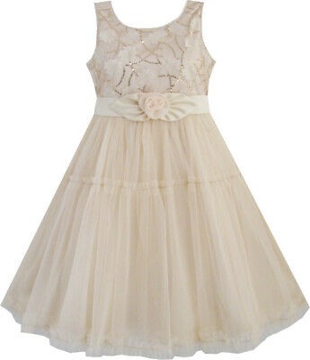 Girls Dress Shinning Sequins Beige Tulle Layers Wedding Pageant Age 2-10 Years