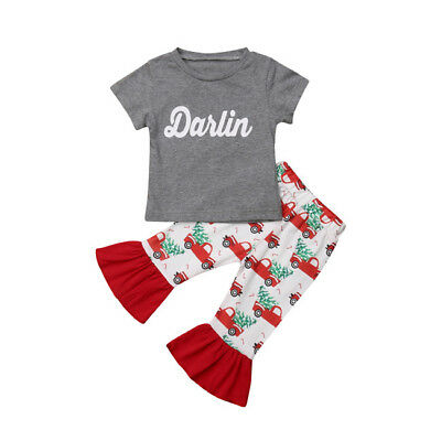 UK Infant Kids Baby Girls T-shirt Tops+Leggings Pants Outfits Clothes Costume
