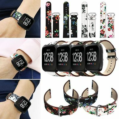 Floral Leather Watch Band Bracelet Wristband Strap For Fitbit Versa 2