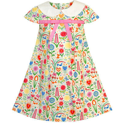 Sunny Fashion Girls Dress White Collar Floral A-line Cotton Casual Age 2-6 Years