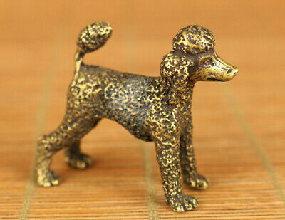 Antique old bronze hand carving poodle dog statue figue gift table decoration