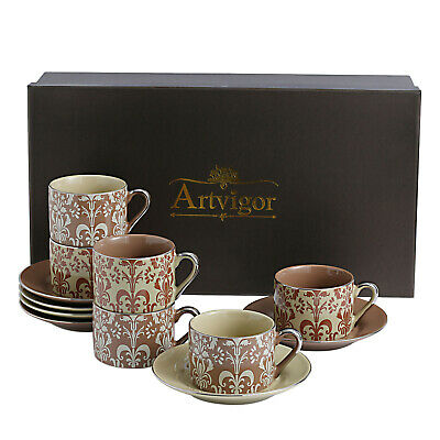 ARTVIGOR 12-piece Espresso Coffee Mug & Saucer Set w/Box Great Gift for Lover