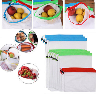 15x Eco Friendly Mesh Net Produce Bags Superior Double-Stitched Pouch Reusable