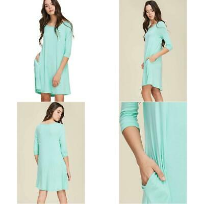 7f18c893a0e503 Annabelle Women'S Comfy Scoop Neck 3/4 Sleeve Swing Dress With Pockets