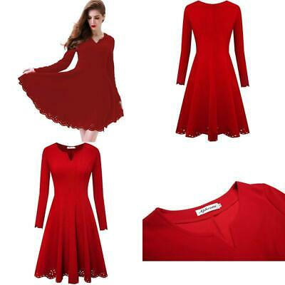 115305df6 Aphratti Women'S Scallop Stretchy Knit Cute Long Sleeve Fit Flare Dress