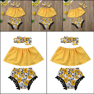 Infant Baby Girls Off Shoulder Kids Tops Shorts 3pcs Outfits Clothes Summer