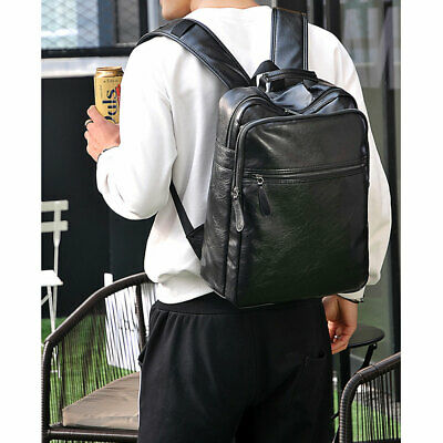 1 Pc Computer Bag PU Leather Large Capacity Backpack Anti-theft Bag for Shopping