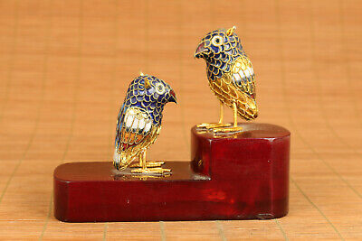 old cloisonne hand painting pair bird statue dragon on wood stand home deco