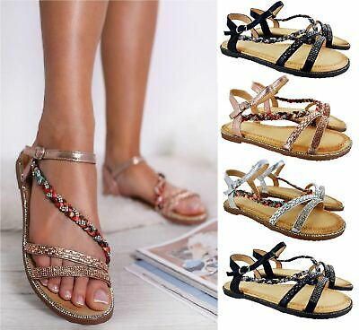 Ladies Womens Flat Diamante Summer Party Wedding Beach Sandals Shoes Uk Size 3-8
