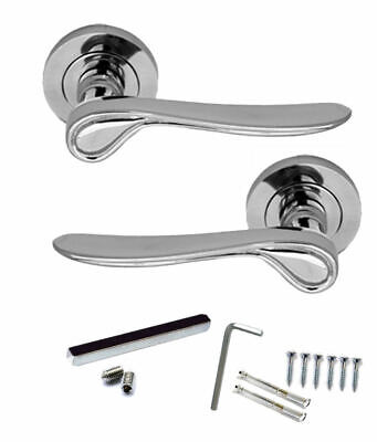 9X PAIRS AZTEC WINGED Door Handle Lever on Round Rose CHROME Finish D1a
