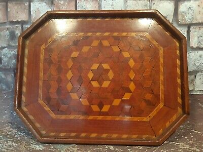 Antique Victorian Wooden Marquetry Inlaid Servants Butlers Tea Serving Tray