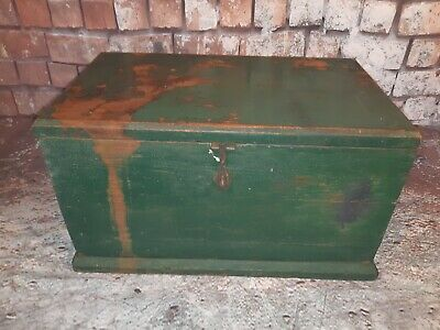 Vintage Industrial Wooden Green Storage Tool Chest Trunk Military Ammunition Box