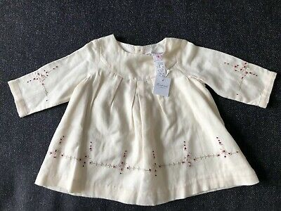 BNWT Bonpoint Ivory Cream Embroidered Lined Smock Top Blouse 6 Months