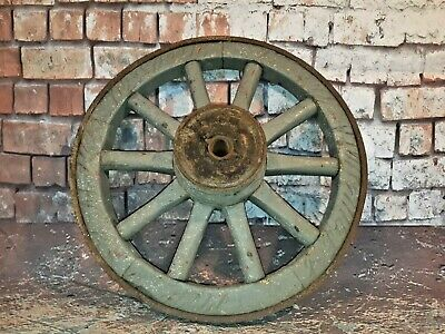 Antique Old Vintage Cart Wagon Wheel Spoked Garden Display Ornament Feature