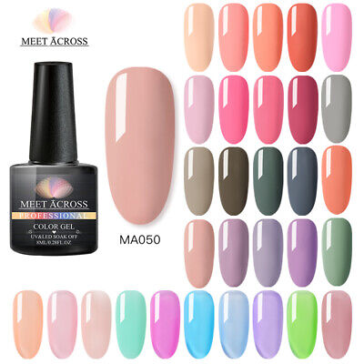 MEET ACROSS 8ml Nail 250 Solid Color Gel Polish Soak off UV Nail Art Gel Varnish