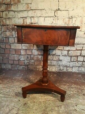 Antique Mahogany Inlaid Wooden Edwardian Victorian Sewing Side Hallway Table