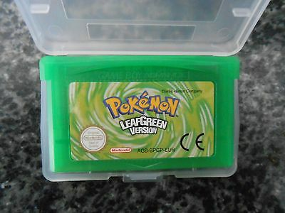 GBA Pokemon Leaf Green Gameboy Advance  Cartridge  AND PROTECTIVE CASE