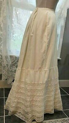 VICTORIAN ERA LACE PETTICOAT with TRAIN AND BUSTLE DIMENSION - DRAWSTRING WAIST