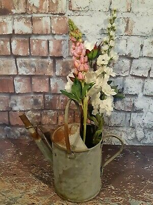 Antique Vintage Galvanised Watering Can 1 Gallon Garden Planter Display Feature