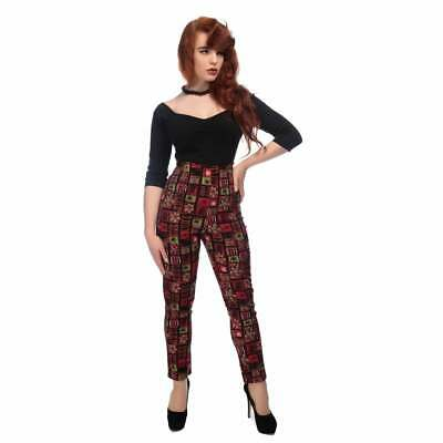 Collectif Vintage Bonnie Abstract Floral Trousers