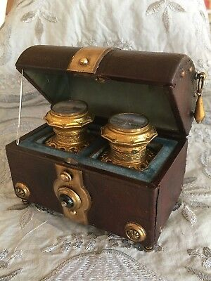 ANTIQUE French GRAND TOUR Perfume CASKET - Scent Bottle LEATHER Case BOX c.1880
