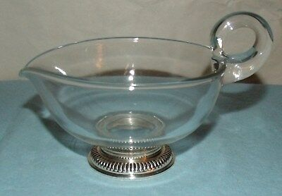 "Sterling Silver & Glass Sauce Gravy Boat  Dish; 4 3/8"" Dia; 2 1/2"" H at Rim;"