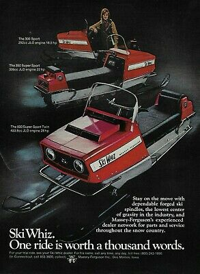 1969 Ski Whiz Super Sport Twin Red Snowmobile Original Vintage Print  Ad