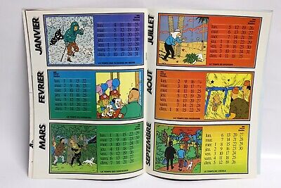 Poster CALENDRIER TINTIN 1982 COMPLET couv. Hergé JOURNAL TINTIN Belge TBE