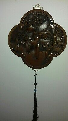 Vintage Lovely Chinese Oriental Carved Wooden Wall Plaque with tassel and Brass!