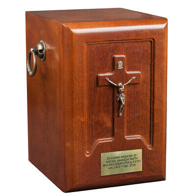 Unique wooden Cremation urn for adult Beautiful Human funeral Urn Catholic Cross