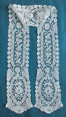 Antique Brussels Duchesse white lace scarf
