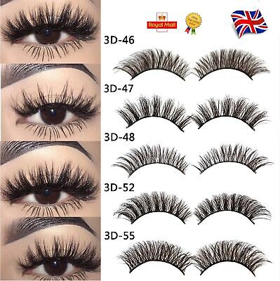 5Pair 3D Mink False Eyelashes Lady Wispy Cross Long Thick Soft Fake Eye Lashes G