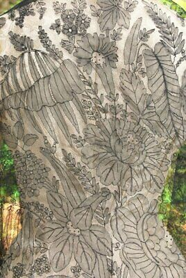 1860 Airy French Bayeux Hand Chantilly Lace Mourning Shawl Fronds & Rose Motif