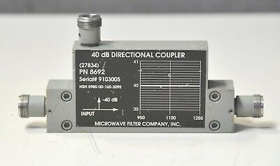 """Microwave Filter company RF 40dB Directional Coupler 950-1250 MHz 30d """"WARRANTY"""""""