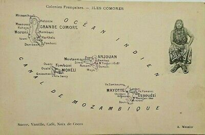 Pre World War 1 Picture Post Card Showing Map Of Comoros / Anjouan / Mayotte