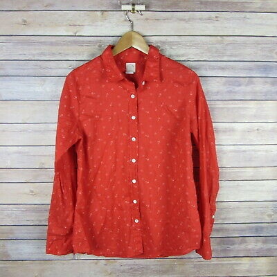 d2f36485 J.CREW Women's The Perfect Shirt Button Front Blouse SIZE 10 Red Anchor  Print