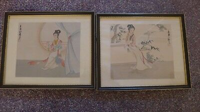Pair Antique Vintage Oriental Chinese Japanese Watercolour Silk Paintings Signed