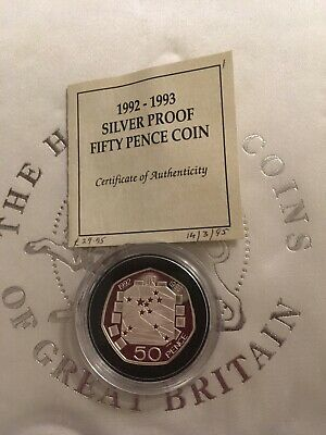 RARE SILVER PROOF DUAL DATE 50p COIN 1992 / 1993 UK Presidency of EEC Council